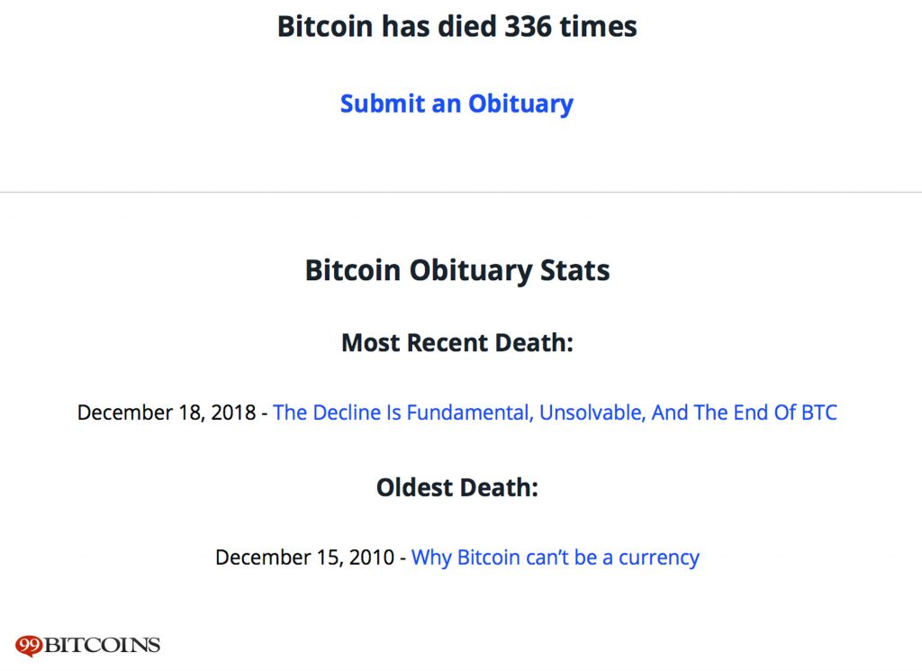 Bitcoin Obituaries Records 90 'Deaths' in 2018